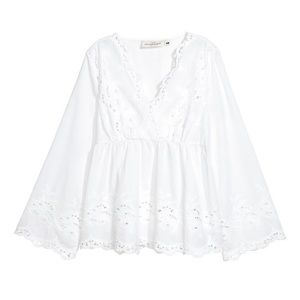 H&M BLOUSE WITH EYELET EMBROIDERY NWT SIZE 8